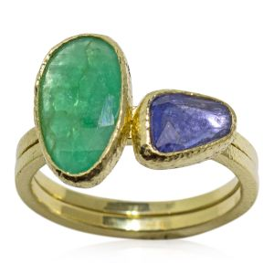 Emerald and Sapphire Stack Rings