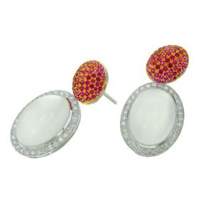 Ruby & Moonstone Earrings