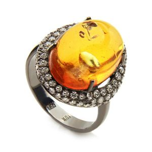 Amber & Diamond Ring