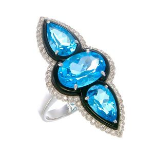 Blue Topaz & Onyx Ring