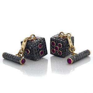 Ruby Dice Cufflinks