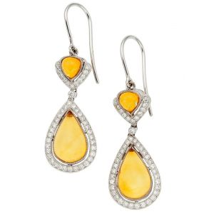 Amber & Diamond Earrings