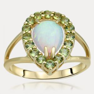 Opal and Peridot Ring