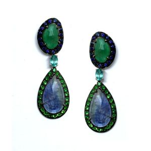 Tanzanite and Emerald Earrings