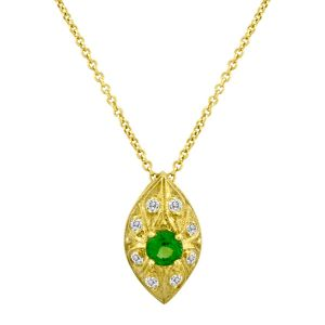 Tsavorite and Diamond Pendant