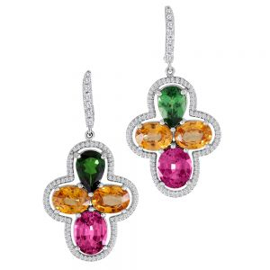 Tsavorite and Garnet Earrings