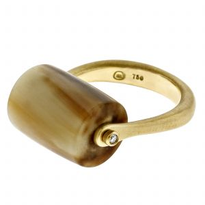ZIYA Horn Bar Ring with Gold Band