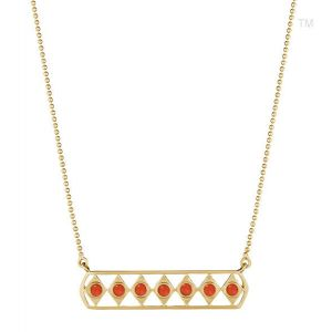 Coral Gladiator Bar Necklace