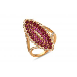Ruby Cluster Oval Ring