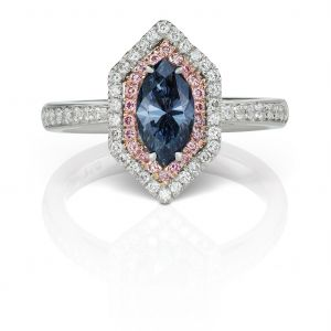 Blue Diamond Marquise Ring