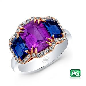 Pink and Blue Sapphire Ring