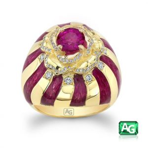 Ruby and Enamel Ring