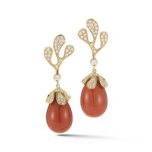 Coral Foglia di Mare Earrings