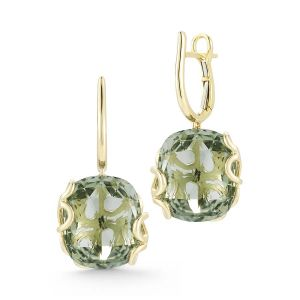 Green Amethyst Foglia di Mare Earrings