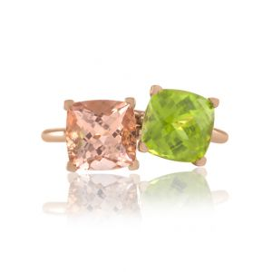 Peridot and Morganite Stackable Rings