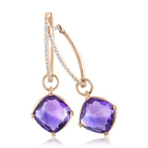 Amethyst Cushion Cut Earrings