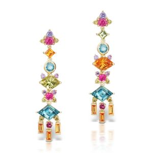 Mixed Gemstone & Diamond Earrings