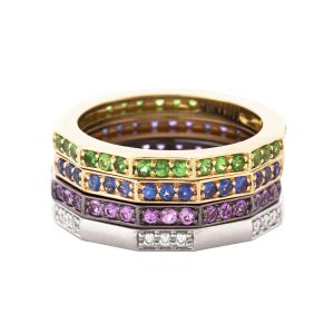 Mixed Gemstone Ring Stack