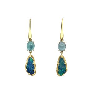 Opal and Tourmaline Earrings