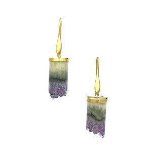 White Amethyst Column Earrings