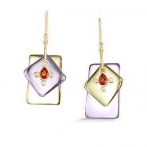 Citrine and Rose de France Earrings