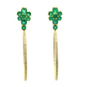 Emerald Hoop Earrings