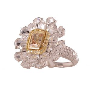 Yellow Diamond Flower Ring