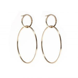 The Crew Half Moon Double Hoop Earrings