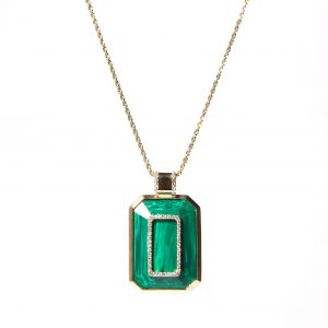 Malachite Found Emerald Cut Pendant