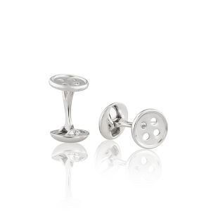 White Button Cufflinks