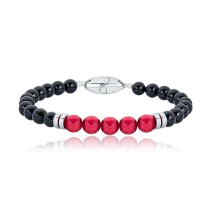 Black and Red Beaded Bracelet