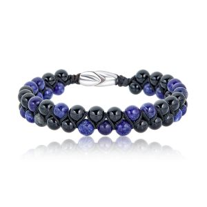 Black and Blue Beaded Double Bracelet