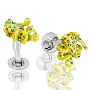 Yellow Octopus Cufflinks
