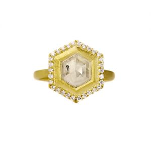 Geo Bezel Halo Ring