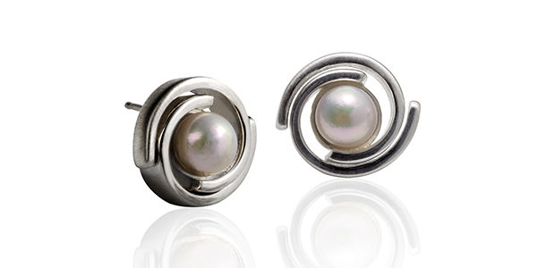 silver article earrings martha seely spiro stud with pearl