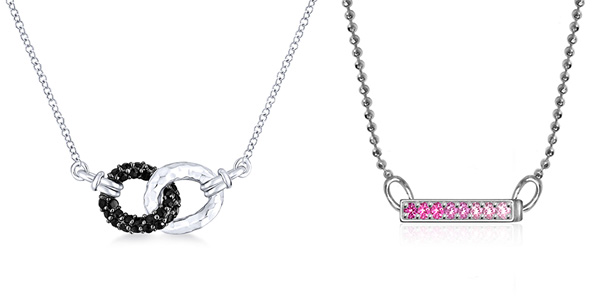 "Gabriel & Co silver 925 necklace with black spinel (left); Alex Woo ""Elements"" sidebar pendant with sterling silver and pink swarovski sapphires (right)"